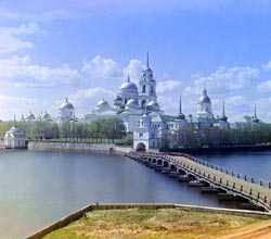 Прокудин-Горский - Вид монастыря из светлицы, Монастырь преп. Нила Столобенского, озеро Селигер