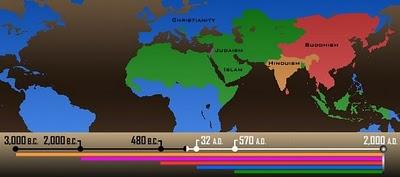 Анимационная карта распространения религий за 5000 лет