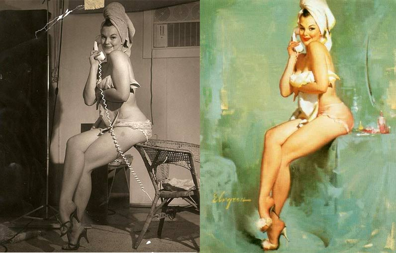 Gil Elvgren - фотографии моделей в мастерской художника