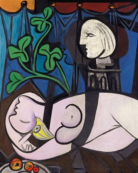 Пабло Пикассо - Обнаженная на фоне бюста и зеленых листьев