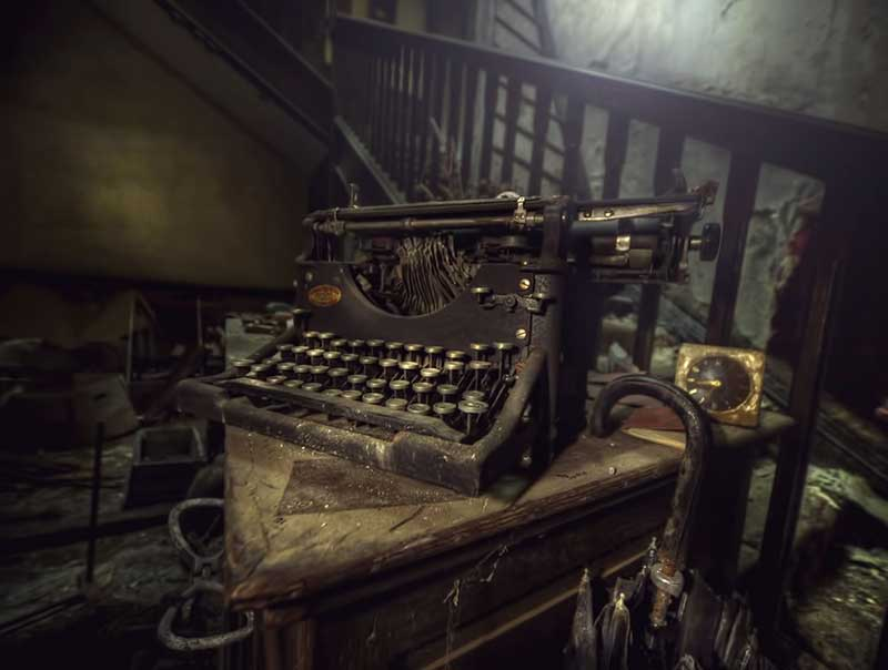 I was once a poet old typewriter found at abandoned manor house
