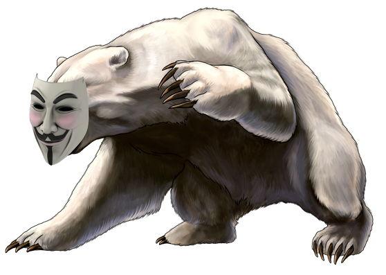 И Гай Фокс на медвежьей морде