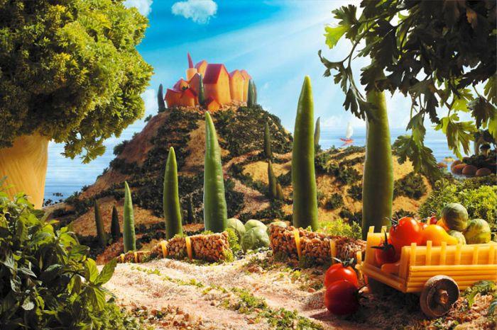 Пейзажи из овощей, фруктов и других продуктов
