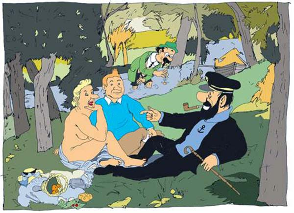 Tintin sur lherbe Lolmede